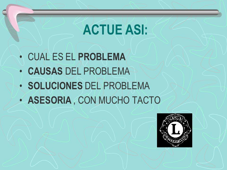 ACTUE ASI: CUAL ES EL PROBLEMA CAUSAS DEL PROBLEMA SOLUCIONES DEL PROBLEMA ASESORIA, CON MUCHO TACTO