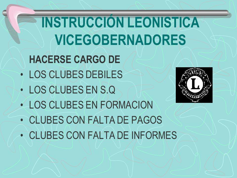 INSTRUCCIÓN LEONISTICA VICEGOBERNADORES HACERSE CARGO DE LOS CLUBES DEBILES LOS CLUBES EN S.Q LOS CLUBES EN FORMACION CLUBES CON FALTA DE PAGOS CLUBES
