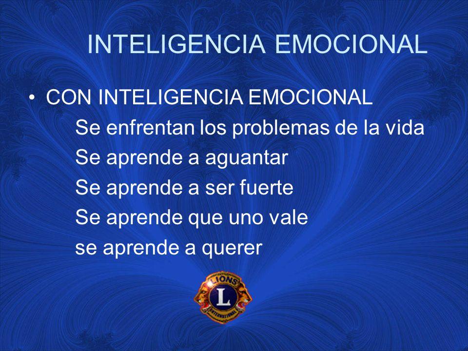 INTELIGENCIA EMOCIONAL CON INTELIGENCIA EMOCIONAL Se enfrentan los problemas de la vida Se aprende a aguantar Se aprende a ser fuerte Se aprende que uno vale se aprende a querer