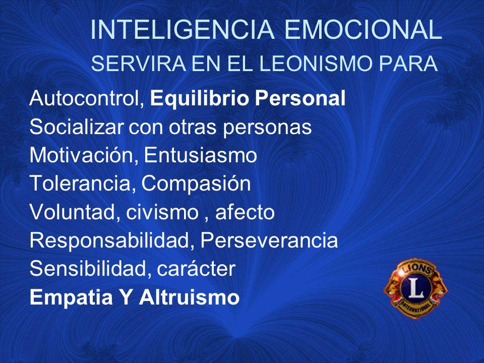 INTELIGENCIA EMOCIONAL SERVIRA EN EL LEONISMO PARA Autocontrol, Equilibrio Personal Socializar con otras personas Motivación, Entusiasmo Tolerancia, Compasión Voluntad, civismo, afecto Responsabilidad, Perseverancia Sensibilidad, carácter Empatia Y Altruismo
