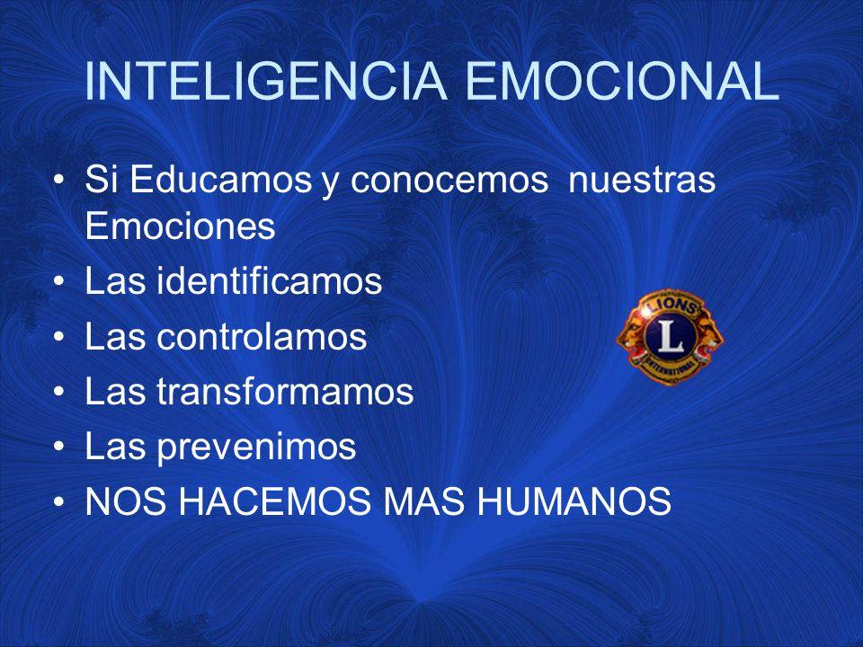 INTELIGENCIA EMOCIONAL Si Educamos y conocemos nuestras Emociones Las identificamos Las controlamos Las transformamos Las prevenimos NOS HACEMOS MAS HUMANOS