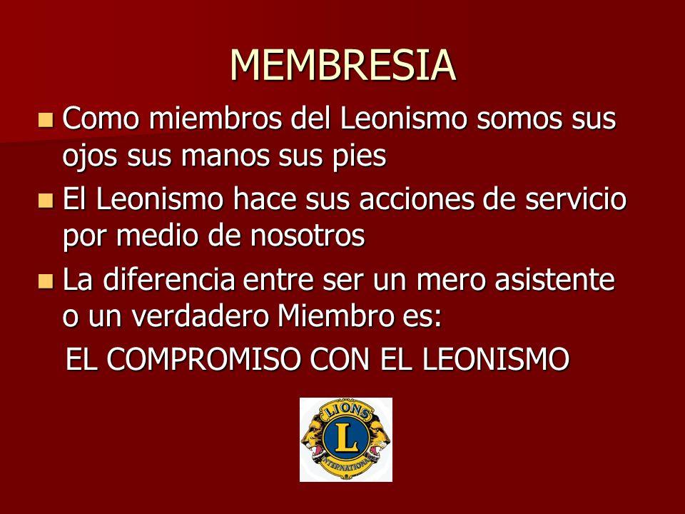 MEMBRESIA Como miembros del Leonismo somos sus ojos sus manos sus pies Como miembros del Leonismo somos sus ojos sus manos sus pies El Leonismo hace s