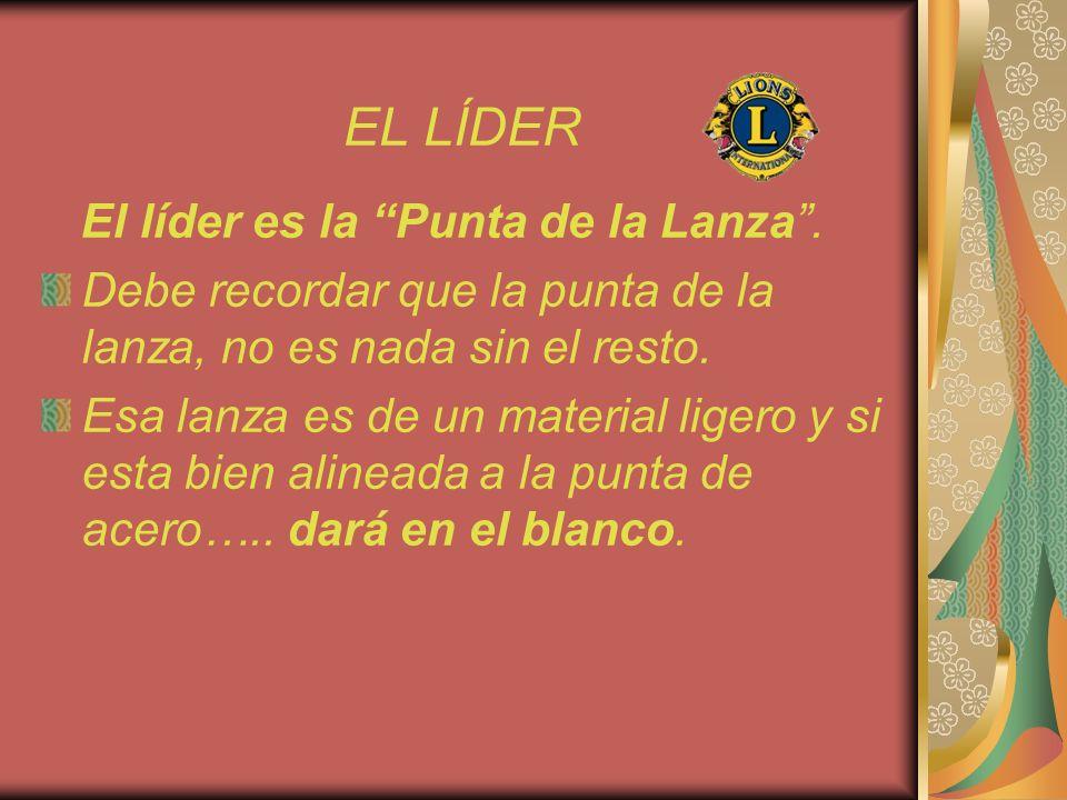 EL LÍDER El líder es la Punta de la Lanza. Debe recordar que la punta de la lanza, no es nada sin el resto. Esa lanza es de un material ligero y si es