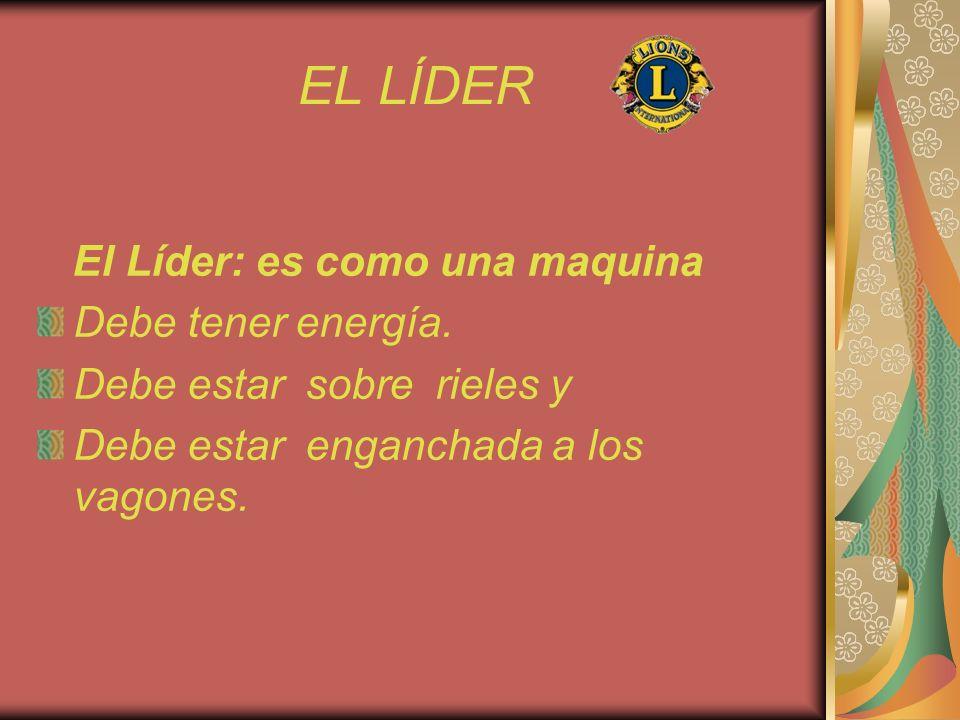 EL LÍDER El Líder: es como una maquina Debe tener energía. Debe estar sobre rieles y Debe estar enganchada a los vagones.