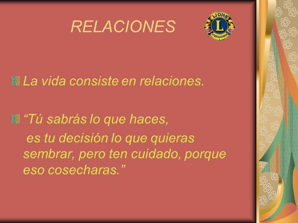 RELACIONES La vida consiste en relaciones. Tú sabrás lo que haces, es tu decisión lo que quieras sembrar, pero ten cuidado, porque eso cosecharas.
