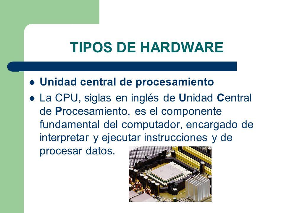 Unidad central de procesamiento La CPU, siglas en inglés de Unidad Central de Procesamiento, es el componente fundamental del computador, encargado de