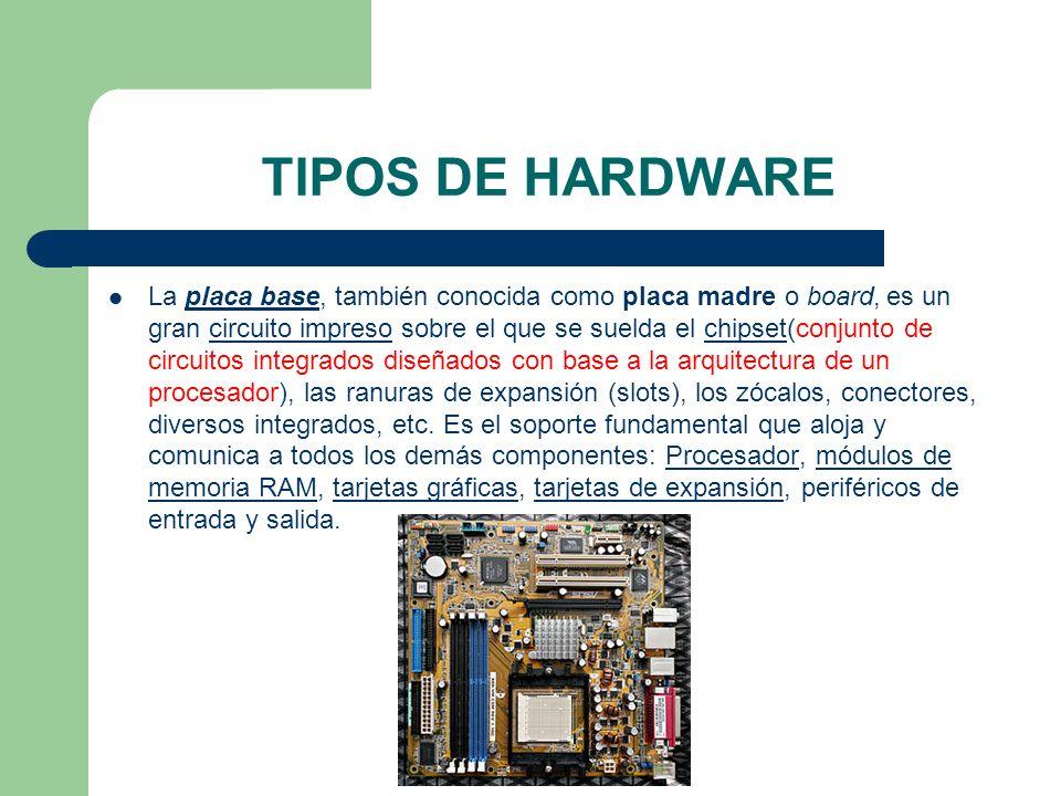 TIPOS DE HARDWARE La placa base, también conocida como placa madre o board, es un gran circuito impreso sobre el que se suelda el chipset(conjunto de