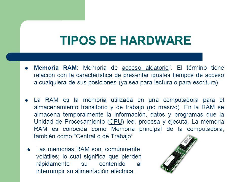 TIPOS DE HARDWARE Memoria RAM: Memoria de acceso aleatorio