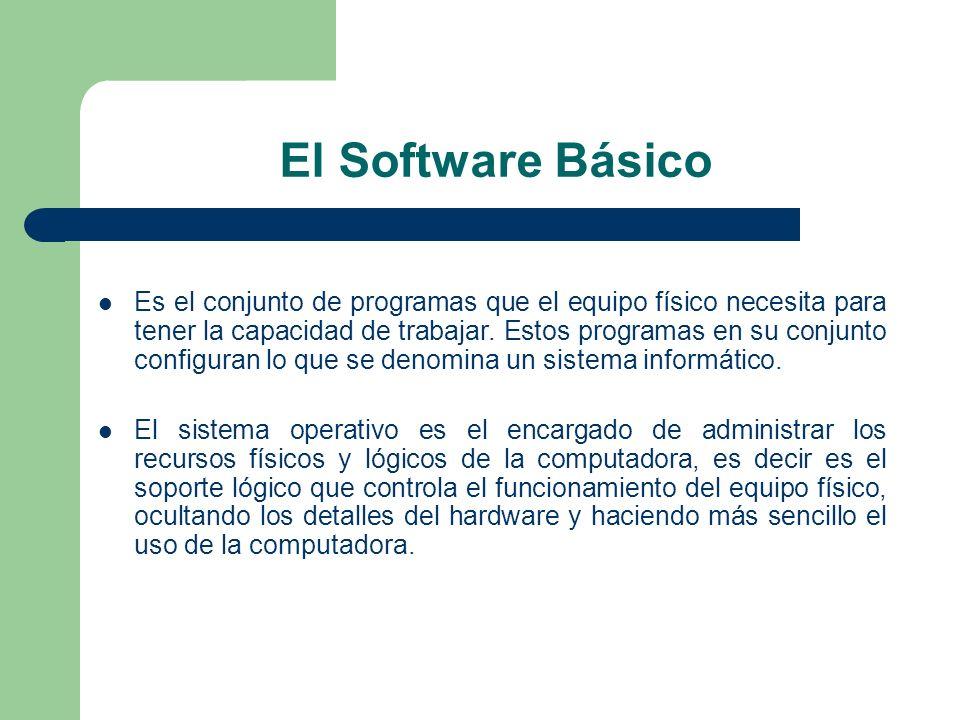 El Software Básico Es el conjunto de programas que el equipo físico necesita para tener la capacidad de trabajar. Estos programas en su conjunto confi