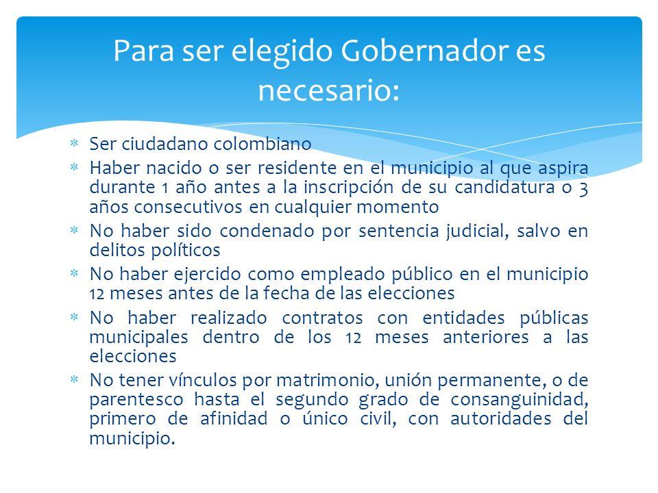 Ser ciudadano colombiano Haber nacido o ser residente en el municipio al que aspira durante 1 año antes a la inscripción de su candidatura o 3 años co