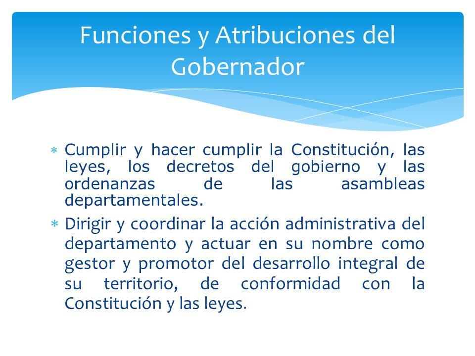 Cumplir y hacer cumplir la Constitución, las leyes, los decretos del gobierno y las ordenanzas de las asambleas departamentales. Dirigir y coordinar l
