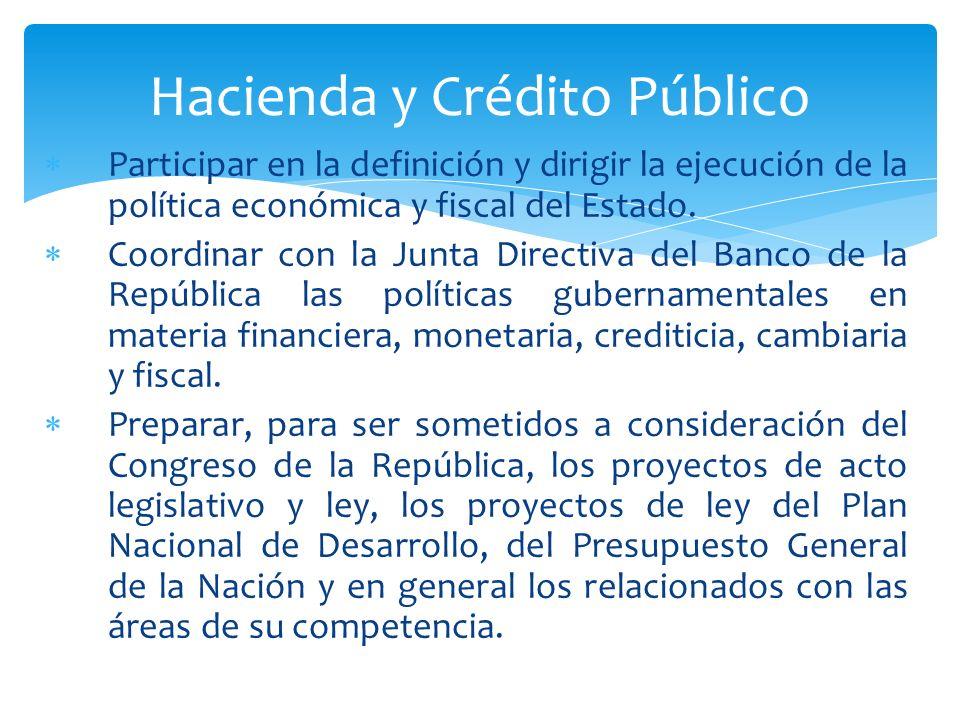 Participar en la definición y dirigir la ejecución de la política económica y fiscal del Estado. Coordinar con la Junta Directiva del Banco de la Repú