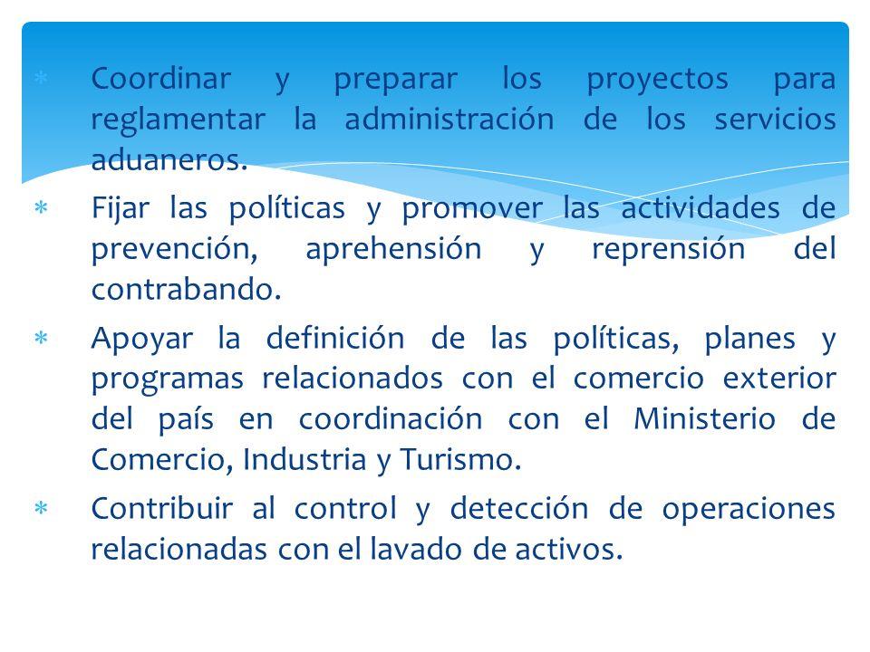 Coordinar y preparar los proyectos para reglamentar la administración de los servicios aduaneros. Fijar las políticas y promover las actividades de pr