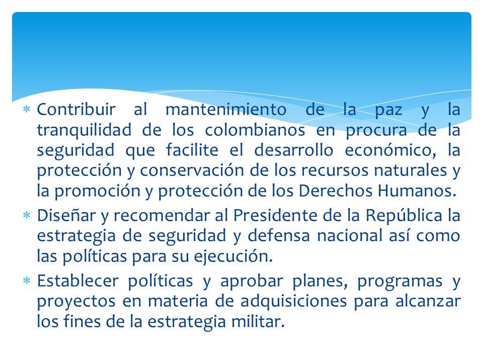 Contribuir al mantenimiento de la paz y la tranquilidad de los colombianos en procura de la seguridad que facilite el desarrollo económico, la protecc