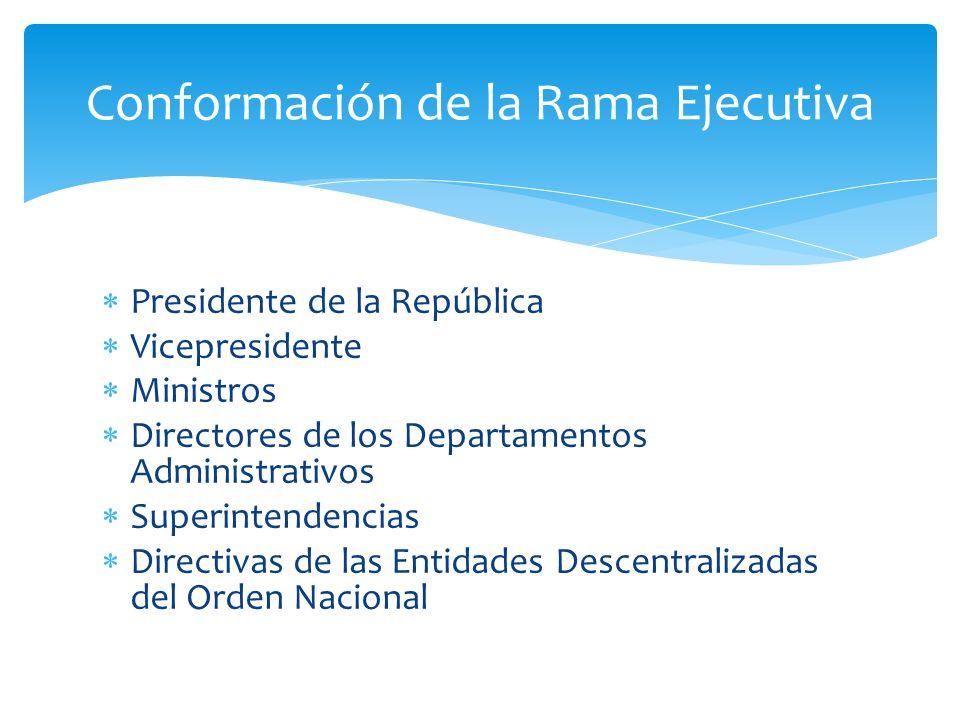 Presidente de la República Vicepresidente Ministros Directores de los Departamentos Administrativos Superintendencias Directivas de las Entidades Desc