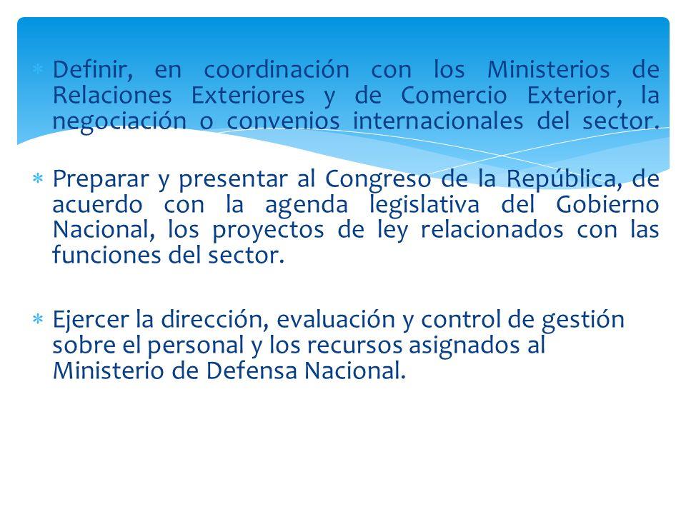 Definir, en coordinación con los Ministerios de Relaciones Exteriores y de Comercio Exterior, la negociación o convenios internacionales del sector. P