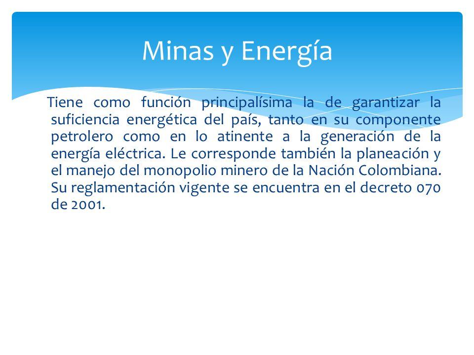 Tiene como función principalísima la de garantizar la suficiencia energética del país, tanto en su componente petrolero como en lo atinente a la gener