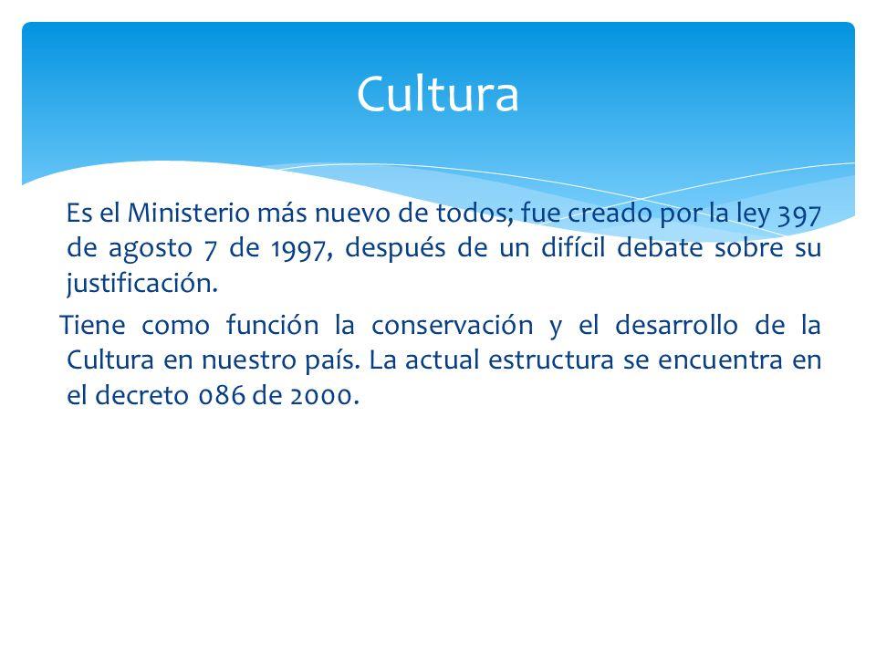 Es el Ministerio más nuevo de todos; fue creado por la ley 397 de agosto 7 de 1997, después de un difícil debate sobre su justificación. Tiene como fu
