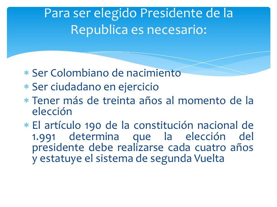 Ser Colombiano de nacimiento Ser ciudadano en ejercicio Tener más de treinta años al momento de la elección El artículo 190 de la constitución naciona