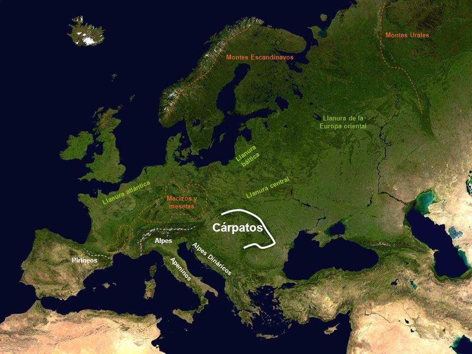 Llanura atlántica Llanura central Llanura báltica Llanura de la Europa oriental Cárpatos Montes Escandinavos Montes Urales Macizos y mesetas Pirineos