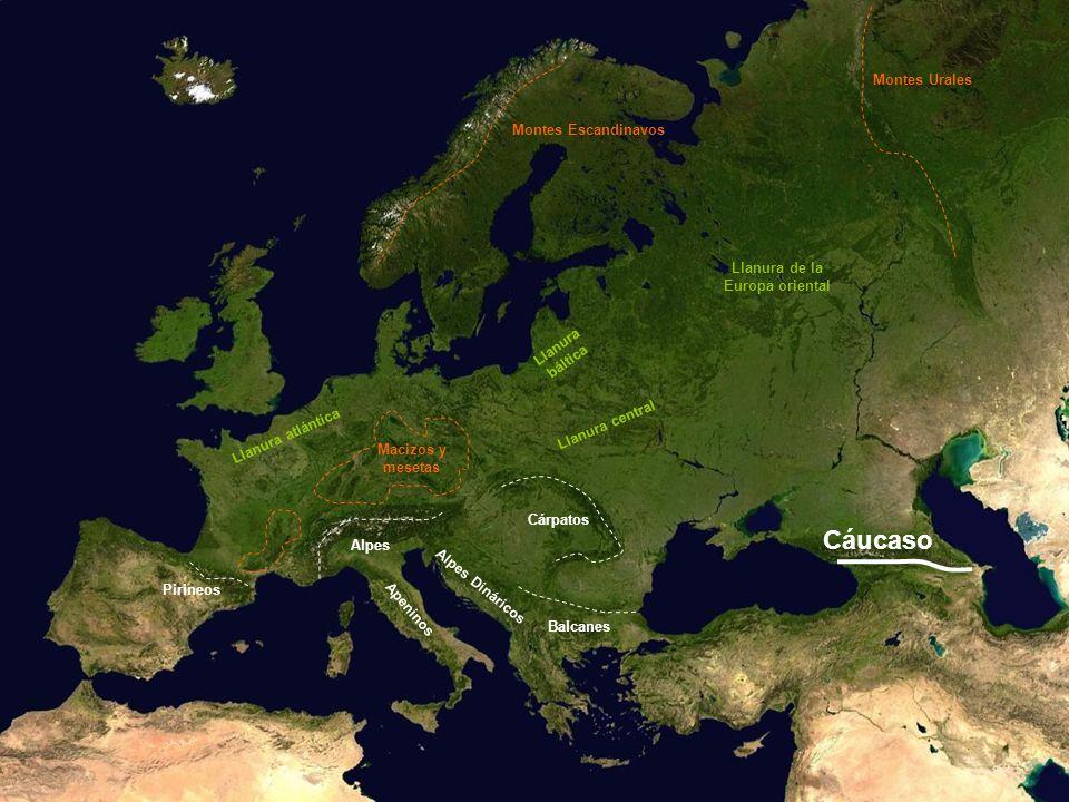 Llanura atlántica Llanura central Llanura báltica Llanura de la Europa oriental Cáucaso Montes Escandinavos Montes Urales Macizos y mesetas Pirineos A
