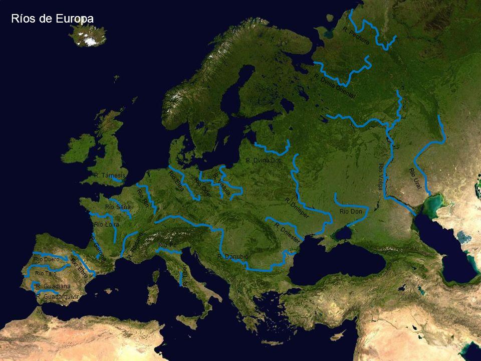 Río Duero Río Tajo R. Guadalquivir R. Guadiana Río Sena R. Támesis R. Garona Río Loira Río Ebro R. Danubio Río Po R. Tíber R. Ródano Río Rin Río Don R