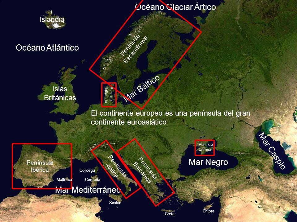 Océano Atlántico Mar Caspio Mar Negro Mar Báltico Mar Mediterráneo Océano Glaciar Ártico El continente europeo es una península del gran continente eu