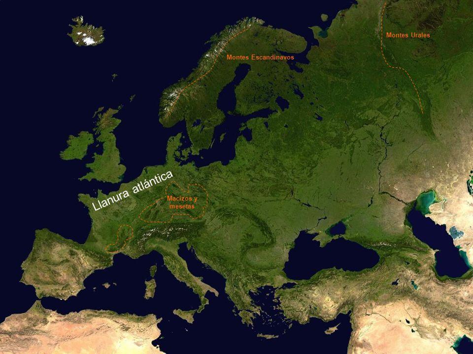 Llanura atlántica Montes Escandinavos Montes Urales Macizos y mesetas