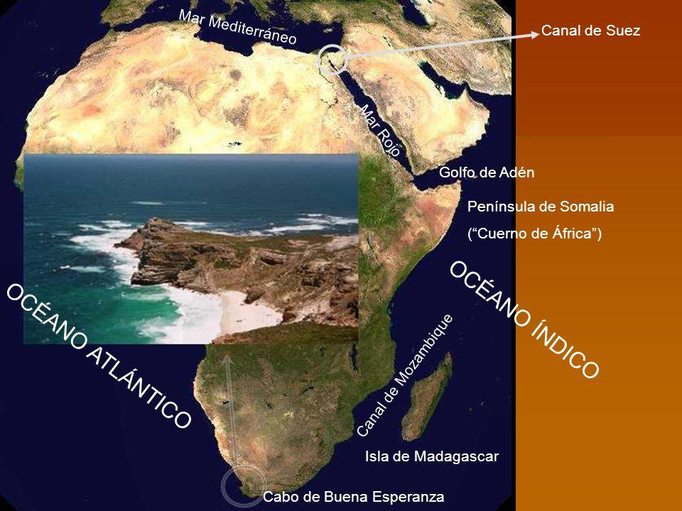 Cabo de Buena Esperanza Isla de Madagascar Canal de Mozambique Península de Somalia (Cuerno de África) Golfo de Adén Mar Rojo Mar Mediterráneo Canal d