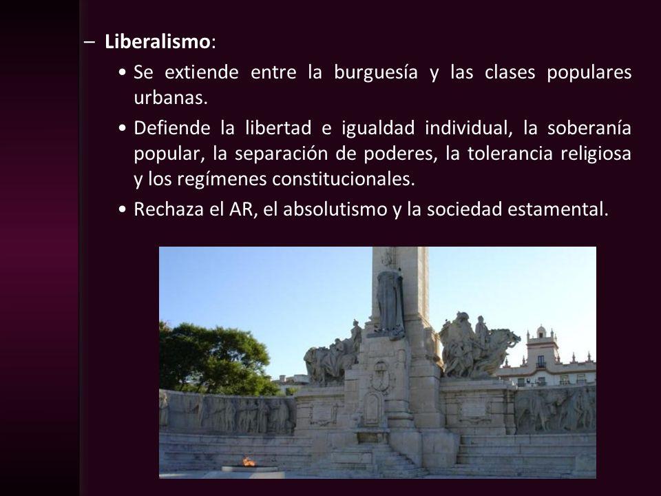 –Liberalismo: Se extiende entre la burguesía y las clases populares urbanas. Defiende la libertad e igualdad individual, la soberanía popular, la sepa