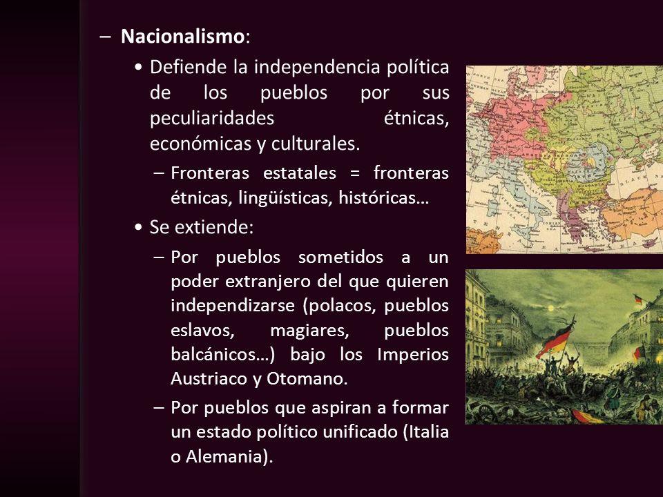 –Nacionalismo: Defiende la independencia política de los pueblos por sus peculiaridades étnicas, económicas y culturales. –Fronteras estatales = front