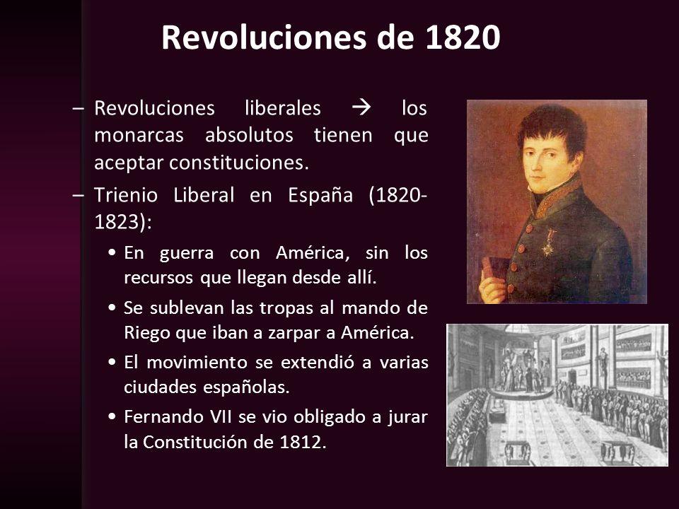 Revoluciones de 1820 –Revoluciones liberales los monarcas absolutos tienen que aceptar constituciones. –Trienio Liberal en España (1820- 1823): En gue