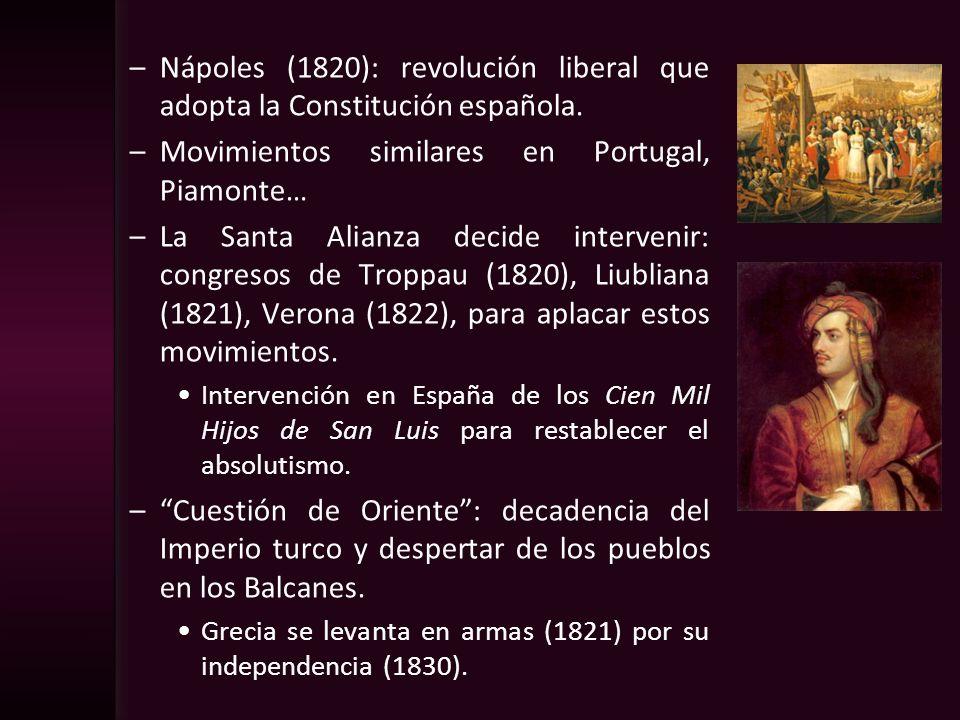 –Nápoles (1820): revolución liberal que adopta la Constitución española. –Movimientos similares en Portugal, Piamonte… –La Santa Alianza decide interv