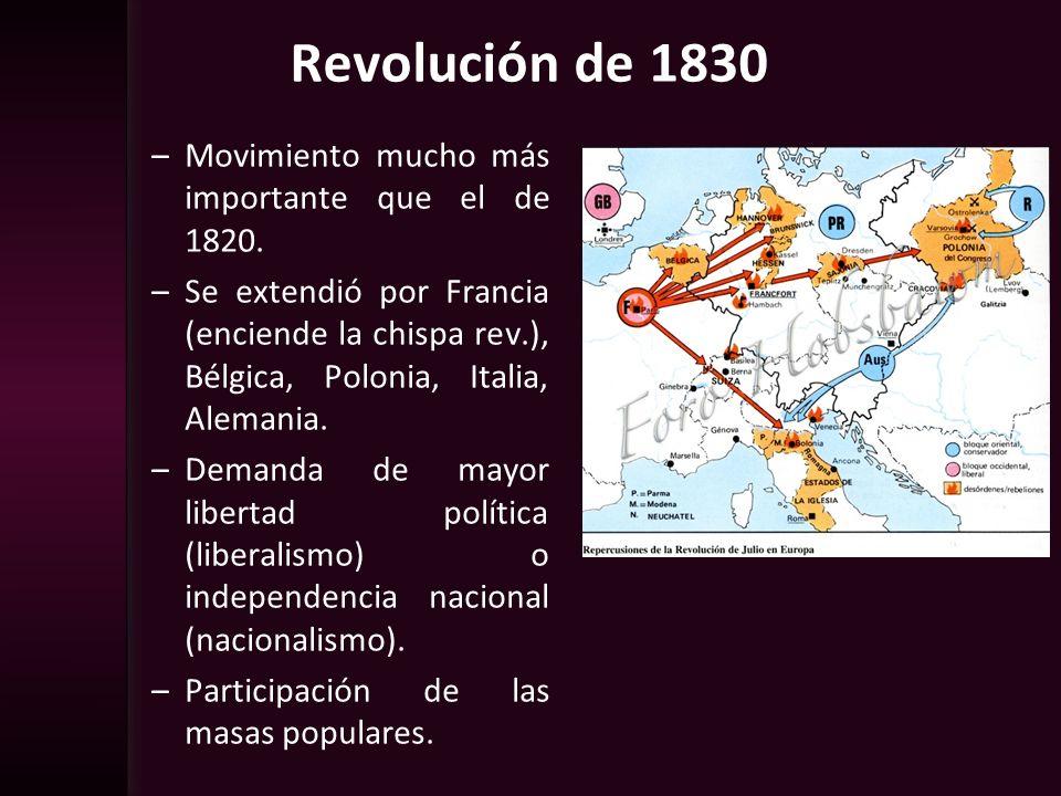 –Movimiento mucho más importante que el de 1820. –Se extendió por Francia (enciende la chispa rev.), Bélgica, Polonia, Italia, Alemania. –Demanda de m