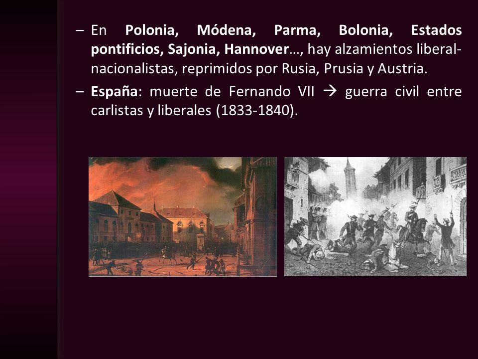 –En Polonia, Módena, Parma, Bolonia, Estados pontificios, Sajonia, Hannover…, hay alzamientos liberal- nacionalistas, reprimidos por Rusia, Prusia y A