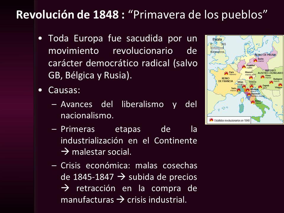 Revolución de 1848 : Primavera de los pueblos Toda Europa fue sacudida por un movimiento revolucionario de carácter democrático radical (salvo GB, Bél