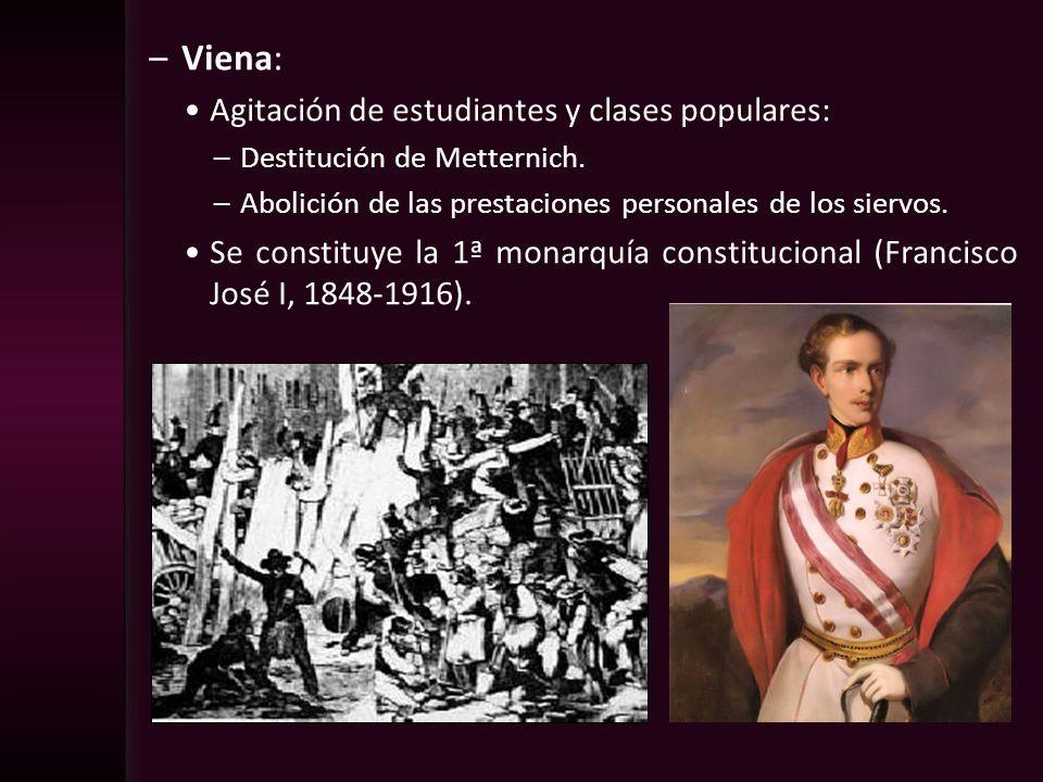 –Viena: Agitación de estudiantes y clases populares: –Destitución de Metternich. –Abolición de las prestaciones personales de los siervos. Se constitu