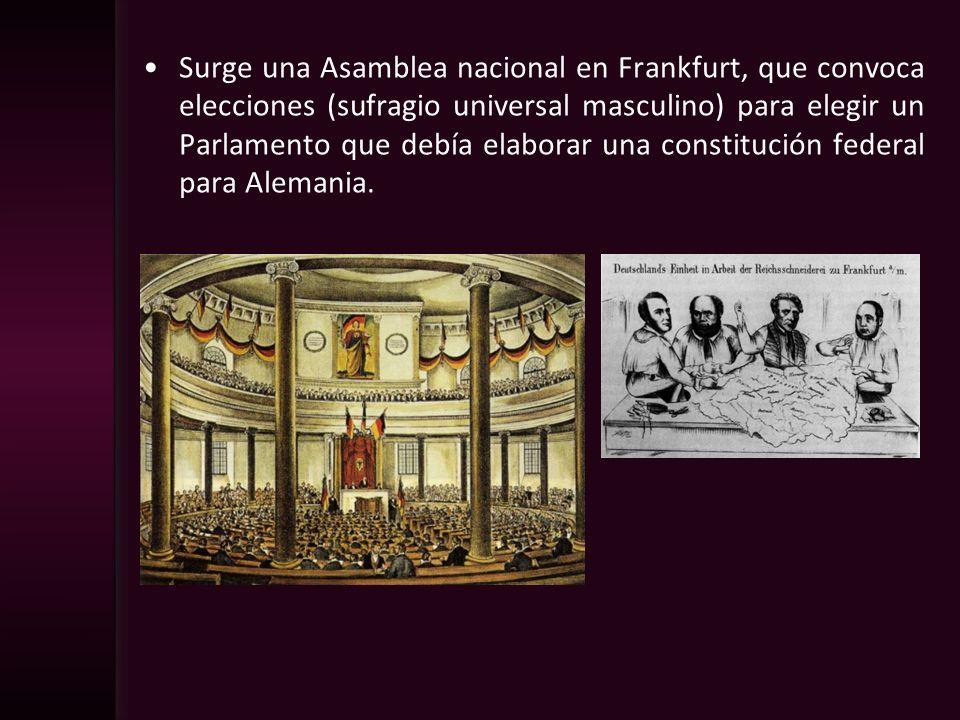 Surge una Asamblea nacional en Frankfurt, que convoca elecciones (sufragio universal masculino) para elegir un Parlamento que debía elaborar una const