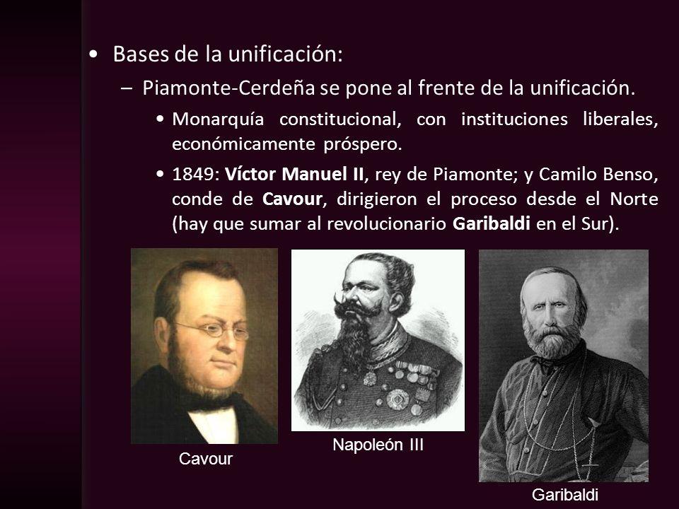 Bases de la unificación: –Piamonte-Cerdeña se pone al frente de la unificación. Monarquía constitucional, con instituciones liberales, económicamente