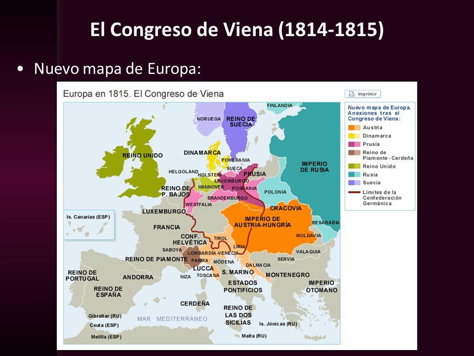 El Congreso de Viena (1814-1815) Nuevo mapa de Europa: