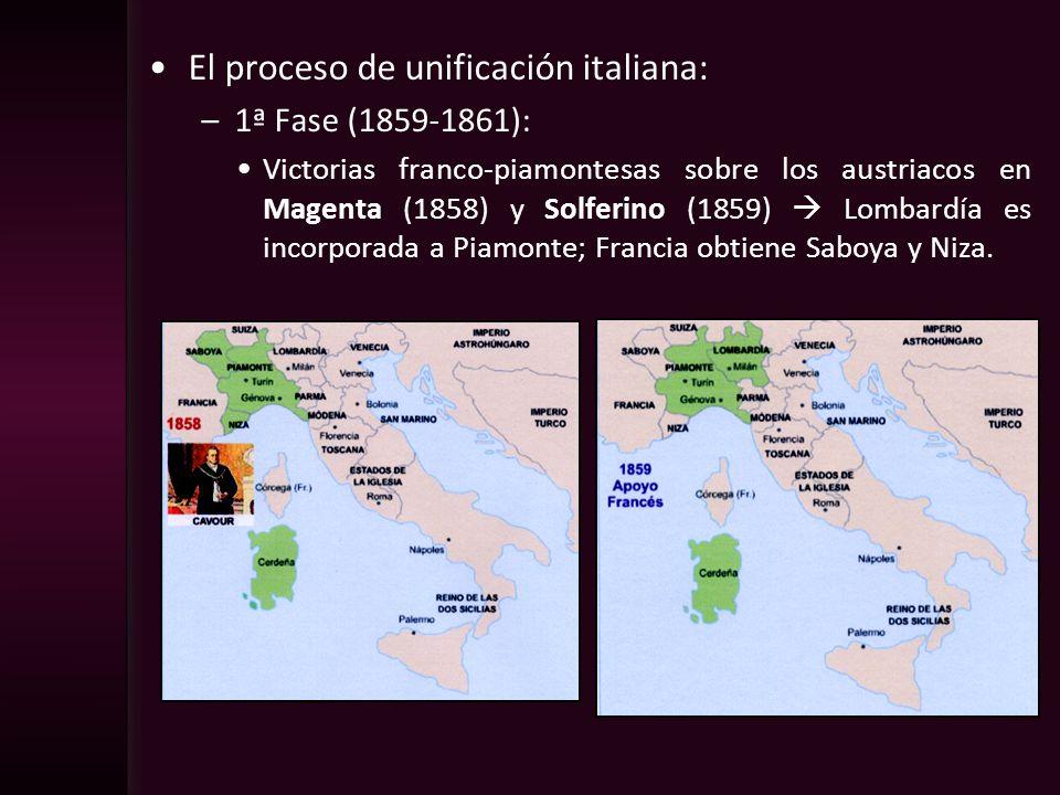 El proceso de unificación italiana: –1ª Fase (1859-1861): Victorias franco-piamontesas sobre los austriacos en Magenta (1858) y Solferino (1859) Lomba