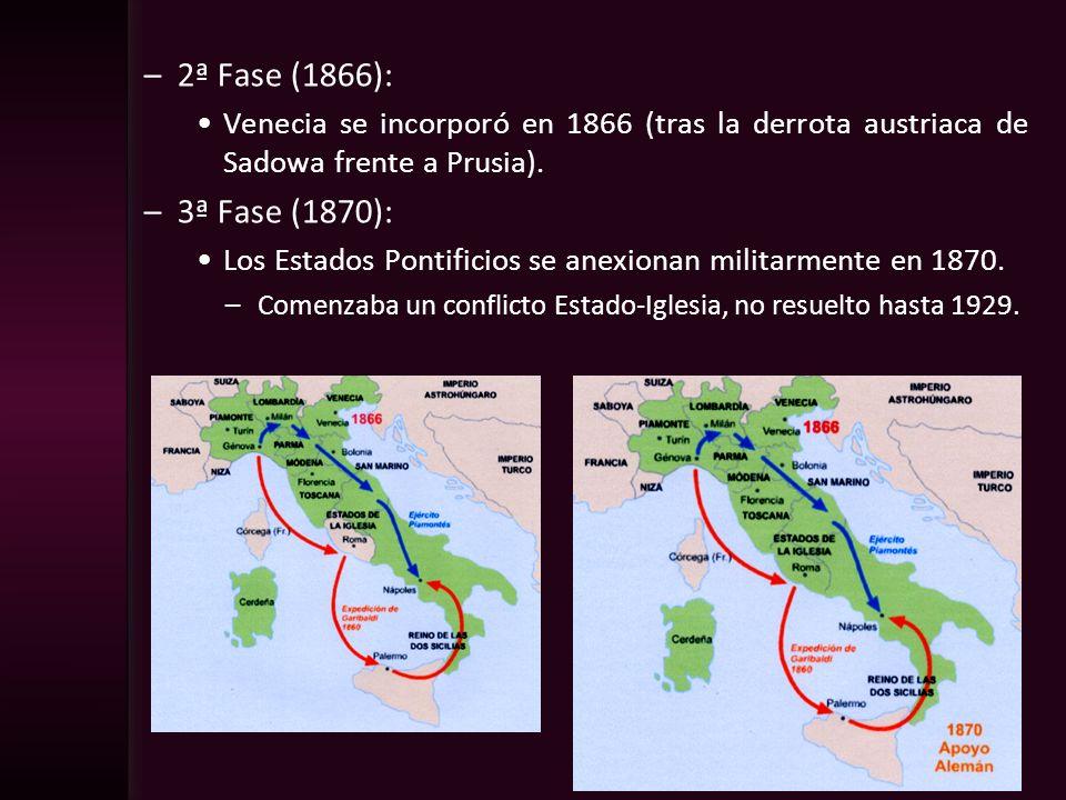 –2ª Fase (1866): Venecia se incorporó en 1866 (tras la derrota austriaca de Sadowa frente a Prusia). –3ª Fase (1870): Los Estados Pontificios se anexi