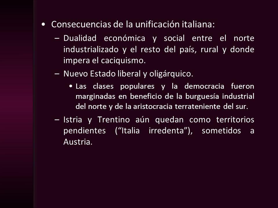 Consecuencias de la unificación italiana: –Dualidad económica y social entre el norte industrializado y el resto del país, rural y donde impera el cac