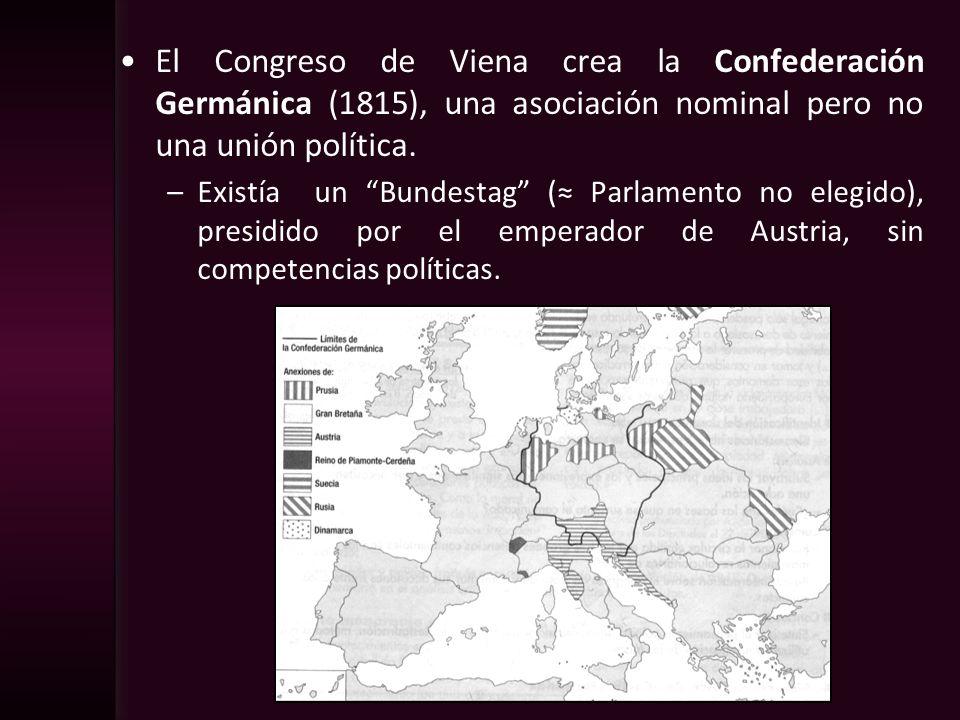 El Congreso de Viena crea la Confederación Germánica (1815), una asociación nominal pero no una unión política. –Existía un Bundestag ( Parlamento no