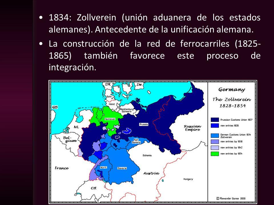 1834: Zollverein (unión aduanera de los estados alemanes). Antecedente de la unificación alemana. La construcción de la red de ferrocarriles (1825- 18