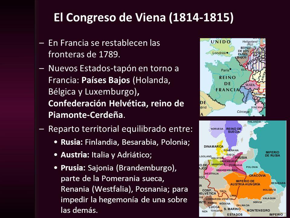 El Congreso de Viena (1814-1815) –En Francia se restablecen las fronteras de 1789. –Nuevos Estados-tapón en torno a Francia: Países Bajos (Holanda, Bé