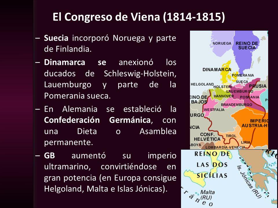 El Congreso de Viena (1814-1815) –Suecia incorporó Noruega y parte de Finlandia. –Dinamarca se anexionó los ducados de Schleswig-Holstein, Lauemburgo