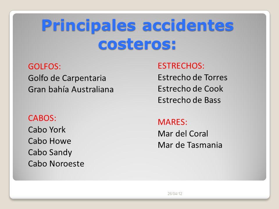 Principales accidentes costeros: 26/04/12 CABOS: Cabo York Cabo Howe Cabo Sandy Cabo Noroeste GOLFOS: Golfo de Carpentaria Gran bahía Australiana ESTR