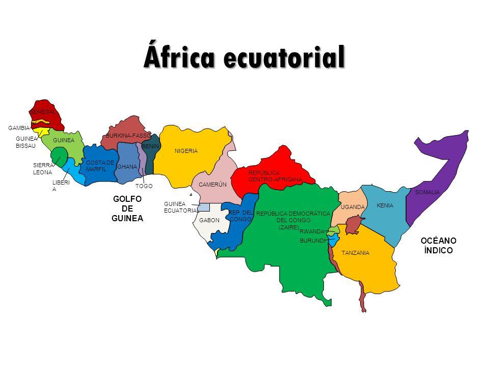 SOMALIA KENIA TANZANIA (ZAIRE) RWANDA GABON NIGERIA BENIN SIERRA SENEGAL GHANA GUINEA LIBERI A CAMERÚN OCÉANO ÍNDICO UGANDA REPÚBLICA DEMOCRÁTICA DEL