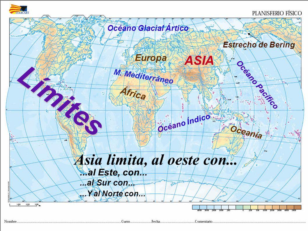 L í m i t e s África Europa M. Mediterráneo ASIA Océano Glacial Ártico Océano Pacífico Estrecho de Bering Oceanía Océano Índico Asia limita, al oeste